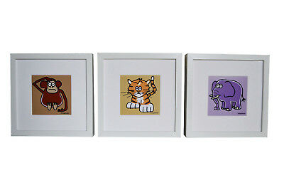 Set of 3 FRAMED jungle animal pictures. Deep chunky white wood frames.