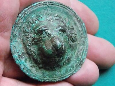 Circa 300-400 Ad Era Roman Bronze Chariot Fitting Showing The Head Of A Lion