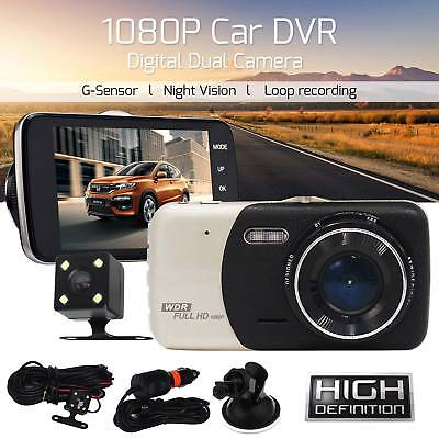 Dual Lens Camera HD 1080P 170° Car DVR Video Dash Cam Front Rear Recorder 4""