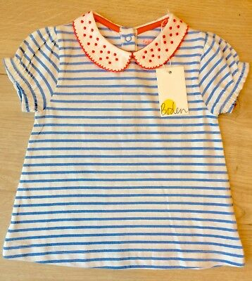 BNWT Baby Boden 12-18 month baby girl top t-shirt Blue striped peter pan collar