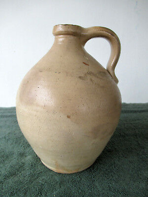 """Antique Jug Ovoid Glazed Stoneware Small 2 Qt Crock, Pulled Handle, 9"""" Tall"""