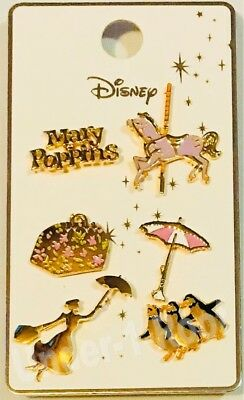 PRIMARK DISNEY MARY POPPINS 6 METAL PIN BADGE SET - Brand New