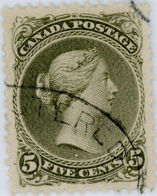 1875 26IV  5 cent Large Queen - olive green - perf. 11.75 x 12