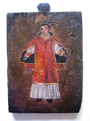 Original Antique Retablo On Wood Quite Old , Unknown Saint