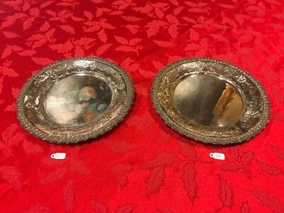 Pair Lovely Spanish Sterling Silver Dessert Plates With Beautiful Flower Work .