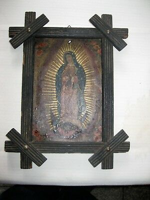 Original Antique Retablo On Tin Quite Old , Our Lady Of Guadalupe ,framed