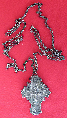 ANTIQUE ENCOLPION BYZANTINE SILVER ORTHODOX RELIQUARY CROSS 16-17th CENTURY