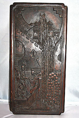 Antique Chinese Wood Carving Wall Hanging Screen Plaque