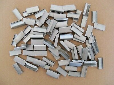 """Metal Banding Clips for 3/8"""" Steel Strapping - Lot of 100 - Crimping Buckles"""