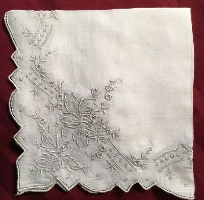 "Exquisite Vintage Antique Linen Ladies Wedding Hankie - 12"" x 12"""