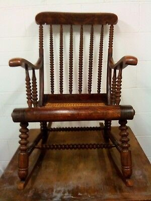Victorian Bobbin Art And Crafts Rocking Chair In made in c1880 in good condition