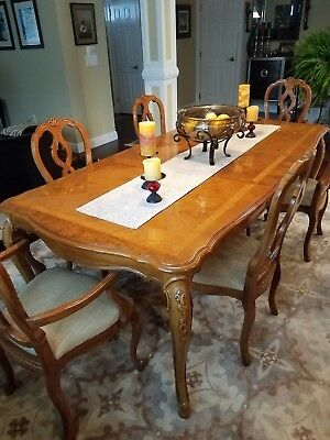 French Country Dining Room Table with 2 extension, 6 Chairs
