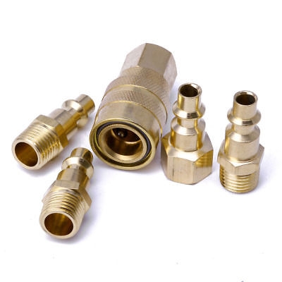 "5Pcs 1/4"" NPT Brass Quick Coupler Set Solid Air Hose Connector Fittings Tools MT"
