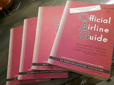 4 Vintage Official Airline Guides 1950 Dates