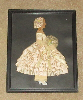 Deco 1930's Pink Ribbon Doll Picture - Embroidery - Framed #2