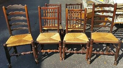 Set of 6 Antique Vintage Wood Ladder Back Rush Seat Dining Chairs Rustic