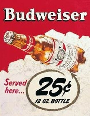 Budweiser 25 Cent Bud Beer Vintage Antique Style Retro Metal Tin Bar Sign New