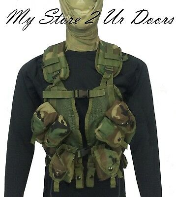 US MILITARY ENHANCED TACTICAL LOAD BEARING VEST w D-Rings LBV Woodland Camo