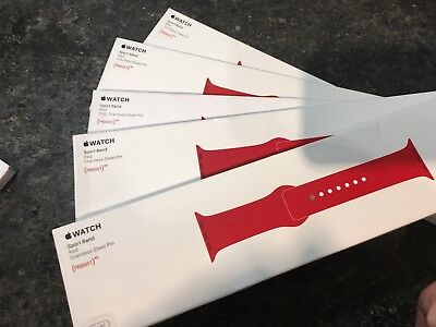 GENUINE APPLE WATCH SPORT BAND 38/40 mm - PRODUCT RED - NEW - IPHONE - XMAS GIFT