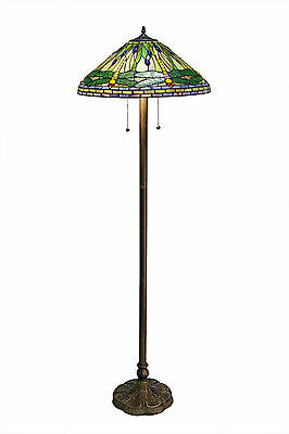 """Tiffany Style Stained Glass Green Dragonfly Floor Lamp 2 Light 18"""" Shade"""