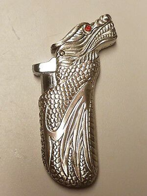 Vintage silver tone dragon lighter
