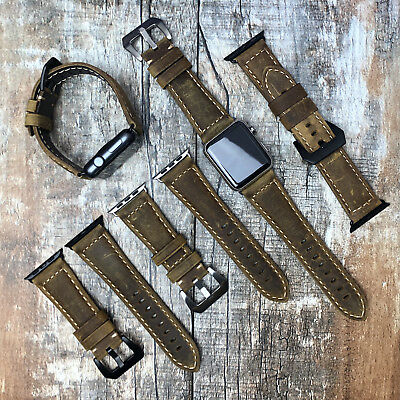 For Apple Watch 4 3 2 1 42/44mm Brown Genuine Leather Replacement Strap Band