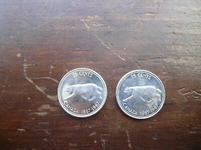 1967 Canadian Silver Quarter --- set of 2