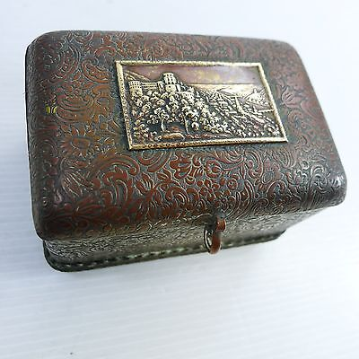 An Antique / Vintage Hinged Lid Beautifully Decorated Brass Box