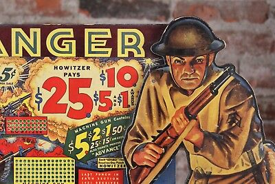 """FANTASTIC WWII RANGER MILITARY THEME GAMBLING PAPER LITHO 5c PUNCH BOARD 19.5"""""""