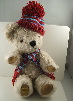 Vintage Merrythought jointed teddy bear including hat and scarf