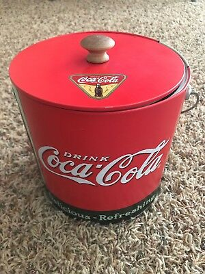 Coca Cola Tin Galvanized Ice Bucket Cooler Collectible Well Used