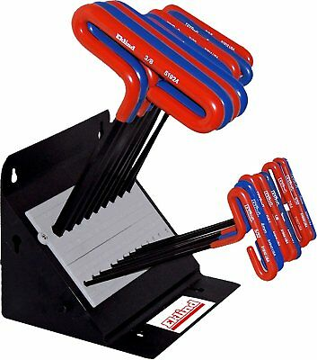 "Eklind 50918 19 Piece 9"" SAE &  Metric Cushion Grip T-Handle Hex Key Set & Stand"