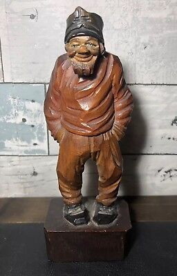 Vintage Ste. Anne De Beaupre Canadian Folk Art Wood Carved Figurine Of Old Man