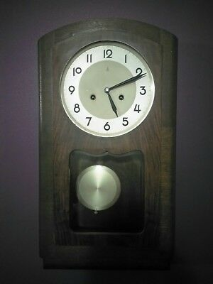 Antique/vintage great bitish original wooden cased pendulum wall clock with key