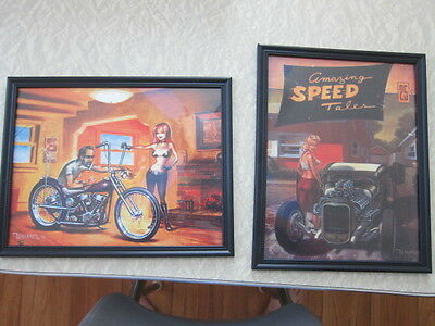 TWO FRAMED Hot rOD,BOBBERS  PRINTS COPIES reprints check it out