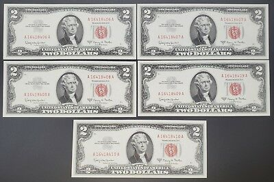 1963 A $2 United States Notes - 5 Sequential Unc Notes!!!!