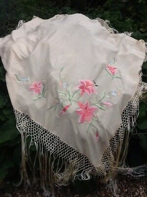 Antique Cream Silk Shawl With Embroidery Detail Some Flaws.