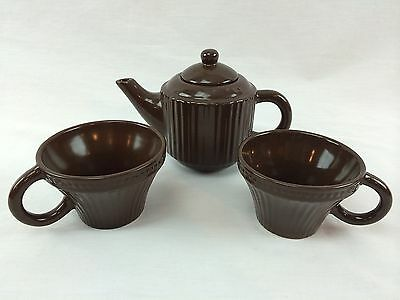 Matching Harbor East Teapot & 2 Cups Brown Stripe Texture Porcelain Pitcher Mug