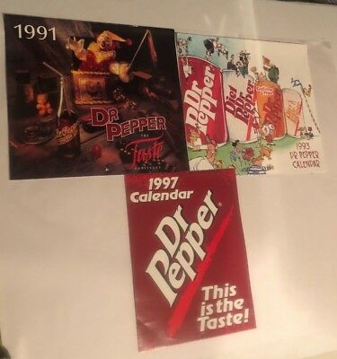 Lot of 3 Vintage 1991, 1993, & 1997 Dr. Pepper Advertising Wall Calendars *NEW*