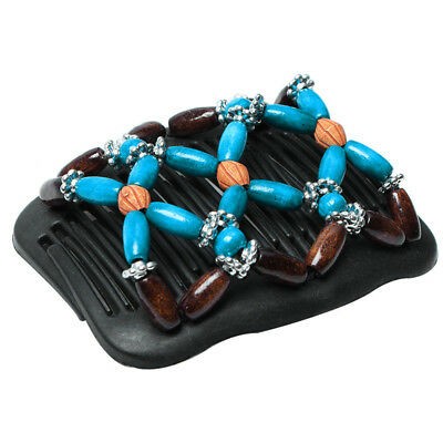 Fashion Flower Link Bead Elastic Hair Comb Hairstyle Stretchy Hairpin N7