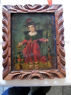Original Antique Retablo On Tin With The Image Pf The Santo Nino De Atocha