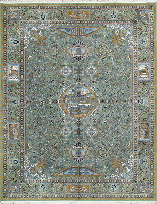 Outstanding Pictorial 10x13 Wool&Acrylic Traditional Turkish Oriental Area Rug