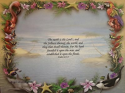 Scripture Art Print-Bible Verse-Psalm 24:1-2-Tropical Paradise Art-8x10-New