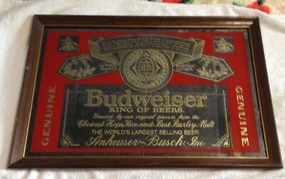 BUDWEISER-King Of Beers LARGE BAR MIRROR  Sign  WOOD FRAME-VINTAGE-18 x 26 x 1