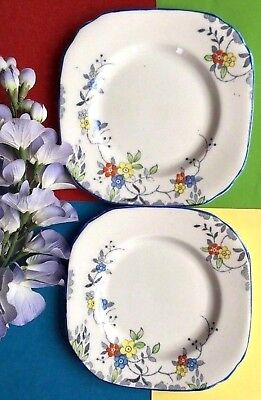 Art Deco / Vintage Sutherland Bone China TWO Tea Set Tea Plates /Sandwich Plates