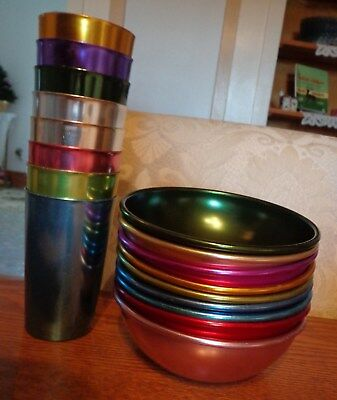 Vintage Bascal colored aluminum 9 bowls and 8 glasses. NICE!