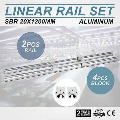 20X1200Mm 2Xrail Guidage Linéaire 4Xbille Roulement Router Charge Unique Hot