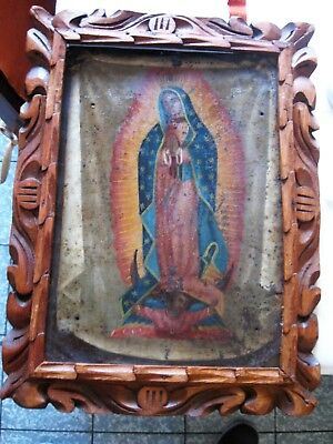 Antique Original Retablo On Tin With The Image Of Our Lady Of Guadalupe Framed