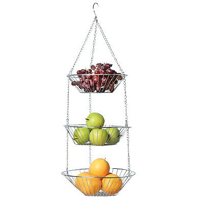 Home District 3 Tier Chrome Hanging Fruit Basket - Wire Food Storage Bowls