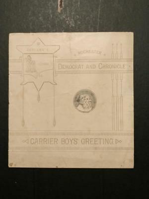 0101----1885 Rochester NY newspaper carrier New Years greeting book